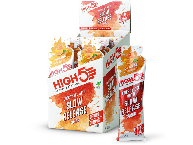 High5 Energie Gel Box with slow Release Carbs 14 x 62g, Orange